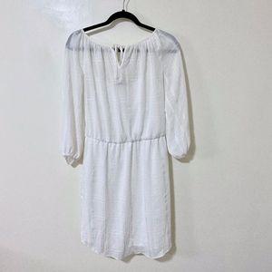 Chaps White Flowy Dress w/ Tie Front - Size S
